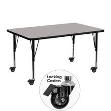 Mobile 24''W x 48''L Rectangular Grey HP Laminate Activity Table - Height Adjustable Short Legs