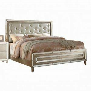 ACME Voeville Queen Bed - 21000Q - Matte Gold PU & Antique Silver