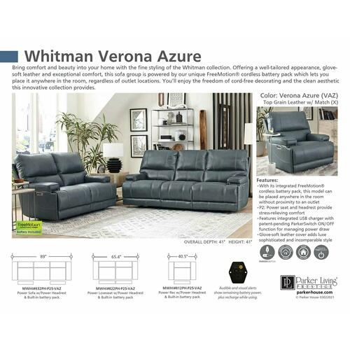 Parker House - WHITMAN - VERONA AZURE - Powered By FreeMotion Power Cordless Recliner