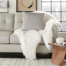"""Fur Vv021 Lt Grey 22"""" X 22"""" Throw Pillow"""