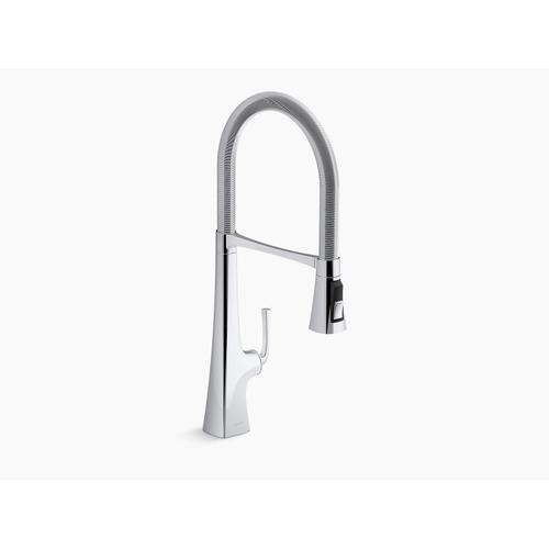 """Vibrant Stainless Single-handle Semi-professional Kitchen Sink Faucet With 24-5/16"""" Spout"""