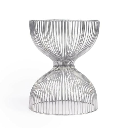 The open hour-glass figure of this Nicholas Iron Cage adds dimension and texture. The silver finish adds depth while the spaces between the iron wire allow for an open design.