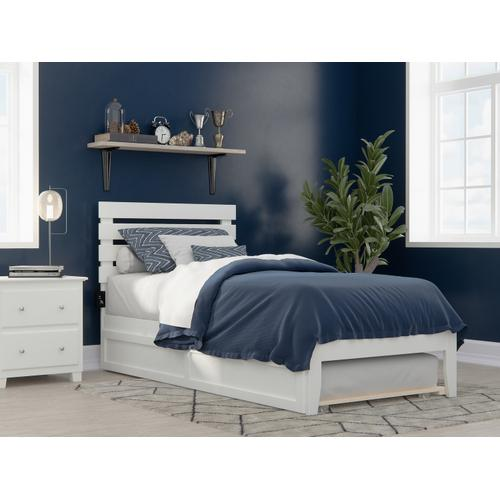 Atlantic Furniture - Oxford Twin Extra Long Bed with USB Turbo Charger and Twin Extra Long Trundle in White