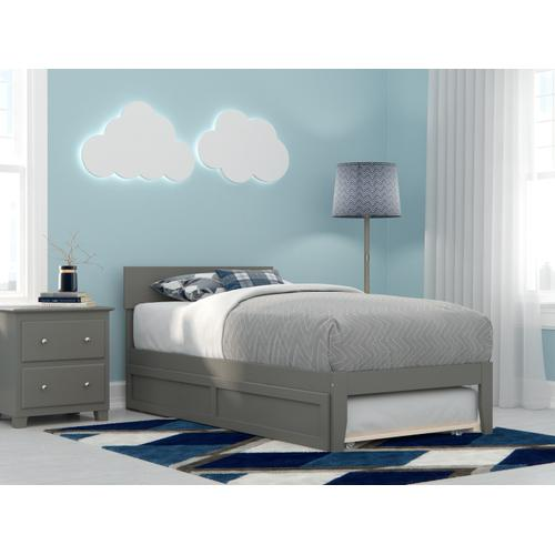 Boston Twin Bed with Twin Trundle in Grey