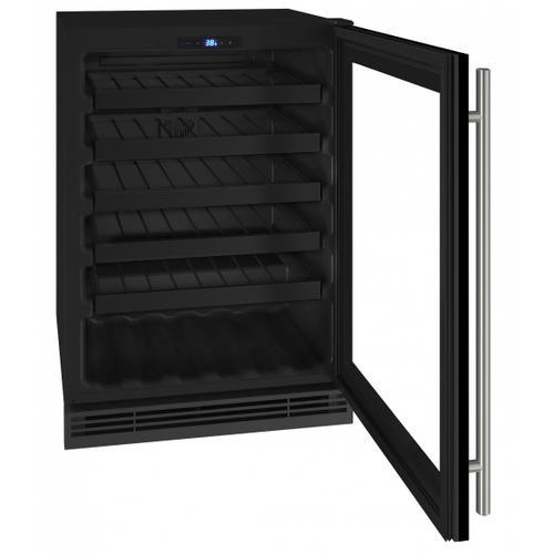 "U-Line - Hwc124 24"" Wine Refrigerator With Black Frame Finish (115v/60 Hz Volts /60 Hz Hz)"