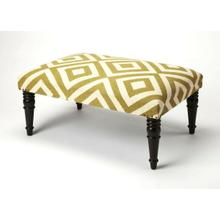See Details - Use this elegantly stylish ottoman as a seat or as a footstool. With its fairly wide surface area, it can also be used as a makeshift coffee table. Its black Mango wood solids legs support a stylish, multi-colored Urethane foam and cotton top.