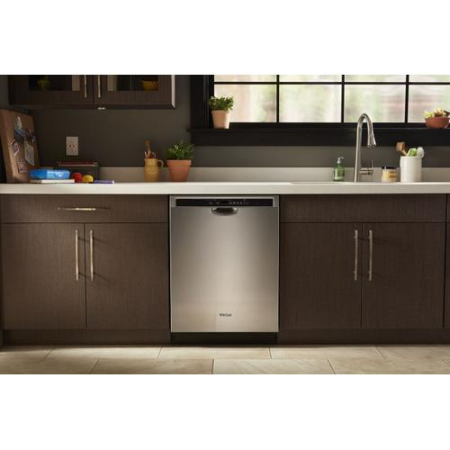 Whirlpool - Stainless steel dishwasher with 1-Hour Wash cycle Monochromatic Stainless Steel