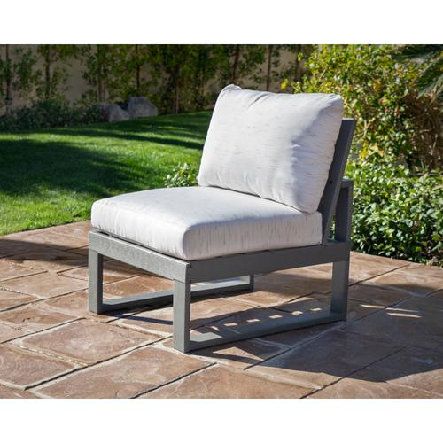 Slate Grey & Textured Linen Modular Armless Chair