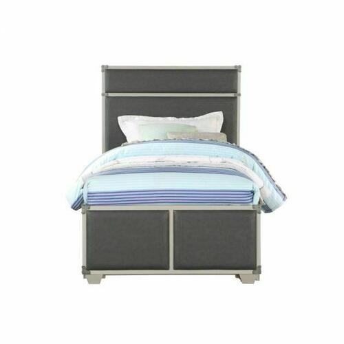 ACME Orchest Twin Bed - 36120T - Transitional, Industrial - PU, Wood (Poplar/Pine), MDF - Gray PU and Gray
