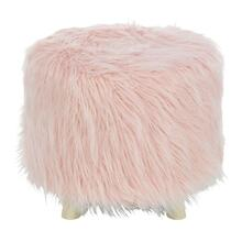 "WD FAUX FUR FOOT STOOL 19""W, 16""H"