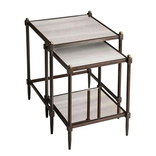 Butler Specialty Company - Style and convenience make these transitional nesting tables a great addition to a living room, bedroom or sitting area. The all metal frame construction of each table features a pewter finish with gold undertones and gold knob accents at each top corner. Both tables have antiqued mirror tops, with an antiqued mirror lower shelf on the smaller table.