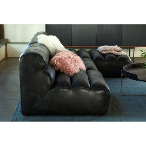 Moe's Home Collection - Ramsay Leather Chaise Antique Black