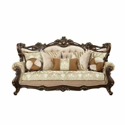ACME Shalisa Sofa w/7 Pillows - 51050 - Fabric & Walnut