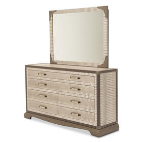 Upholstered 2 PC Dresser W/ Mirror