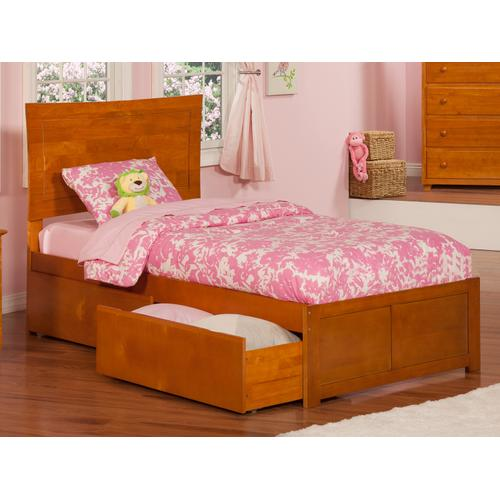 Metro Twin Flat Panel Foot Board with 2 Urban Bed Drawers Caramel Latte