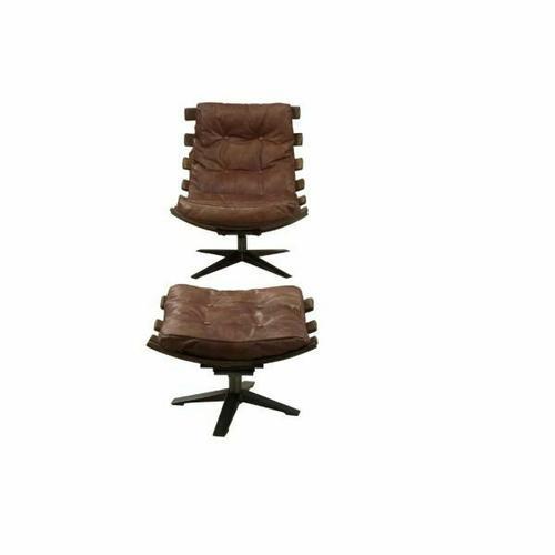 ACME Gandy 2Pc Pack Chair & Ottoman - 59530 - Retro Brown Top Grain Leather