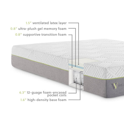 Wellsville 11 Inch Latex Hybrid Mattress Split Cal King