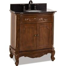 "30-1/2"" Nutmeg vanity with Antique Brass hardware, carved floral onlays, French scrolled legs, and preassembled Black Granite top and oval bowl"