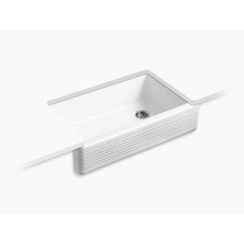 """White 35-11/16"""" X 21-9/16"""" X 9-5/8"""" Undermount Single-bowl Farmhouse Kitchen Sink"""