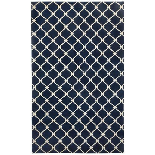 Fence Navy Ivory - Rectangle - 5' x 8'