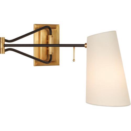 AERIN Keil 29 inch 40 watt Hand-Rubbed Antique Brass and Black Swing Arm Wall Light