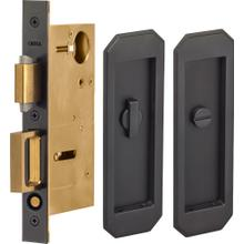 Pocket Door Lock with Traditional Trim featuring Turnpiece and Emergency Release in (US10B Black, Oil-Rubbed, Lacquered)