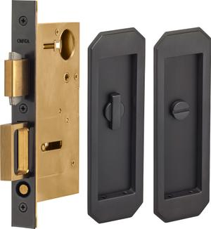 Pocket Door Lock with Traditional Trim featuring Turnpiece and Emergency Release in (US10B Black, Oil-Rubbed, Lacquered) Product Image