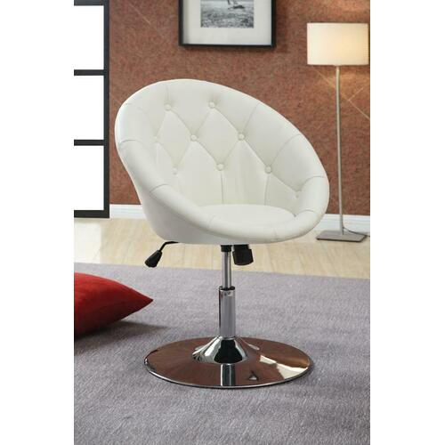 Coaster - Contemporary White Faux Leather Swivel Accent Chair