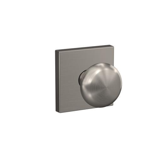 Custom Plymouth Knob with Collins Trim Hall-Closet and Bed-Bath Lock - Satin Nickel