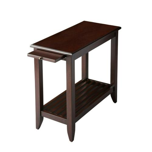 This transitionally styled table provides beauty and function to any space. Crafted from select wood solids, wood products and choice veneers, it features a cherry veneer top, pull-out tray and slatted lower display shelf. Antique brass finished hardware.