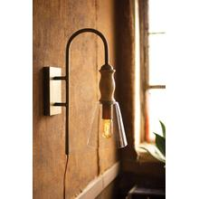 See Details - metal wall lamp with wood & glass shade