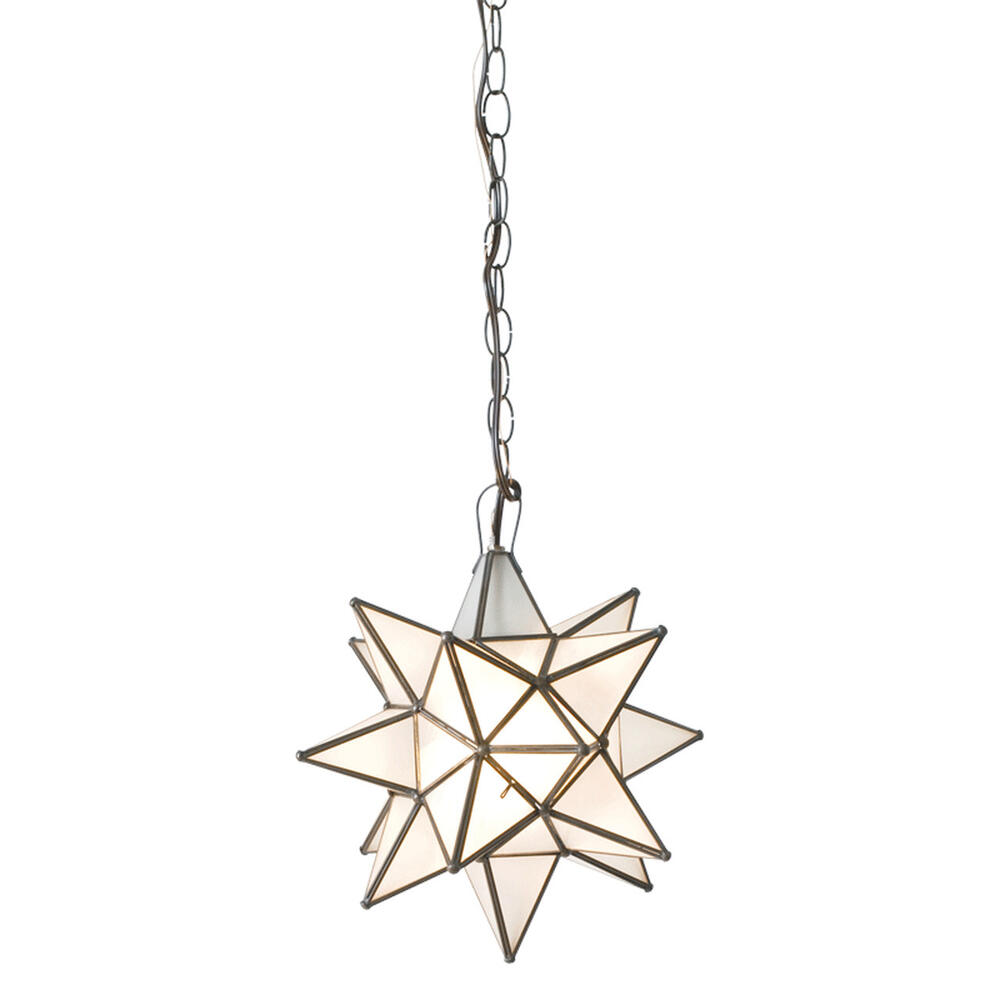 """Whether You Install One or Group Several Together, Our Small 12"""" Diameter Frosted Star Chandelier Brings Beautiful Sparkle To Your Decor Throughout the Day and Night. Each Star Comes Standard With 3' of Chain and Canopy. Additional Chain Length Available for Purchase To Accommodate Your Custom Installation."""