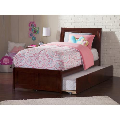 Portland Twin Bed with Matching Foot Board with Urban Trundle Bed in Walnut