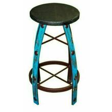 See Details - Iron & Wood Turquoise Scraped Barstool