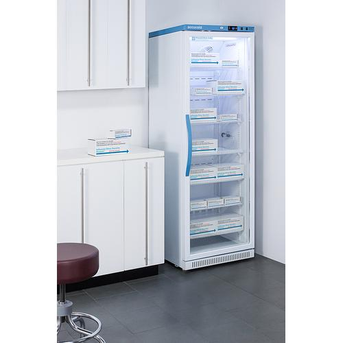 Performance Series Pharma-vac 15 CU.FT. Upright Glass Door Commercial All-refrigerator for the Display and Refrigeration of Vaccines, With Antimicrobial Silver-ion Handle and Hospital Grade Cord With 'green Dot' Plug