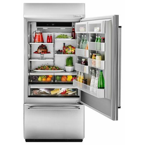 "KitchenAid - 20.9 Cu. Ft. 36"" Width Built-In Stainless Bottom Mount Refrigerator with Platinum Interior Design - Stainless Steel"