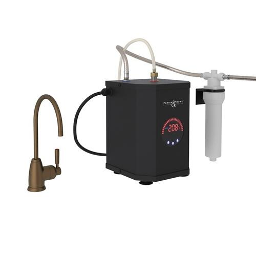English Bronze Perrin & Rowe Holborn C-Spout Hot Water Faucet, Tank And Filter Kit with Contemporary Metal Lever