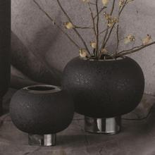 See Details - Silver Banded Sphere Vase-Black-Lg
