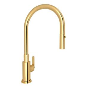 Lombardia Pulldown Kitchen Faucet - Italian Brass with Metal Lever Handle