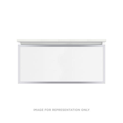 """Profiles 36-1/8"""" X 15"""" X 18-3/4"""" Modular Vanity In Beach With Chrome Finish and Slow-close Full Drawer"""