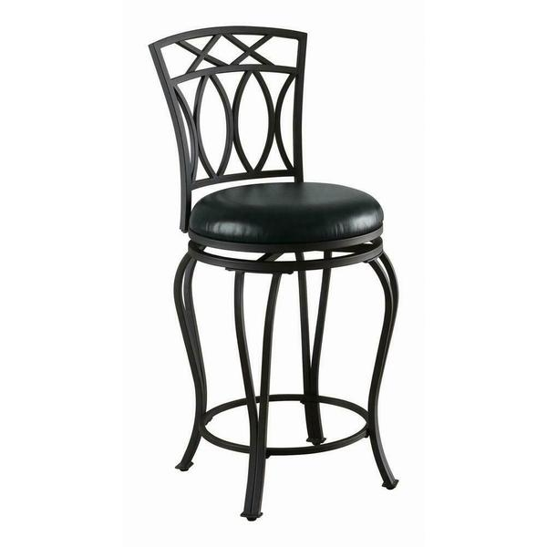 See Details - Casual Black Metal Counter Stool