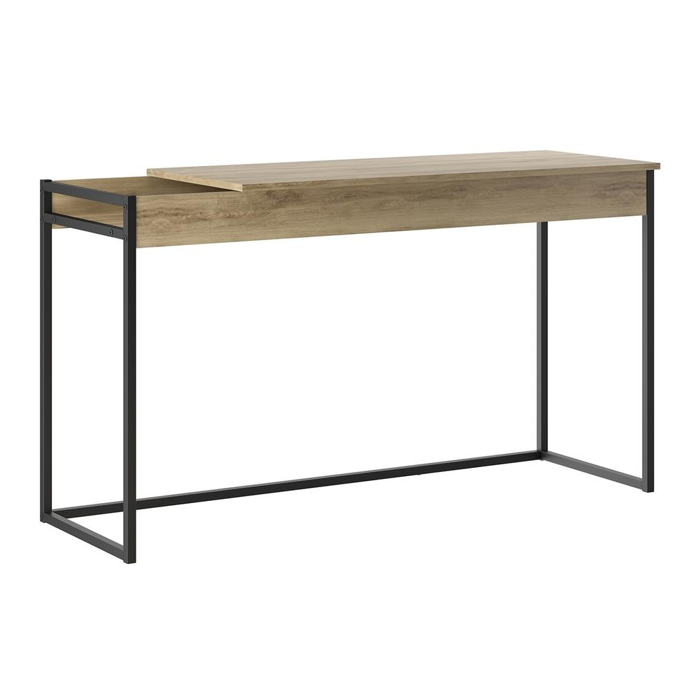 The Noa Office Desk Part Of Our Kd Collection In Oak Melamine With Black Painted Metal Frame