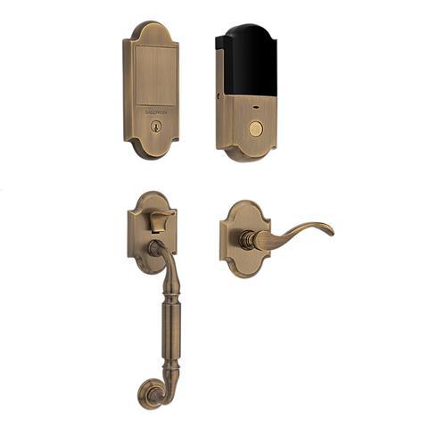 Satin Brass and Black Canterbury Touchscreen Dummy Handleset
