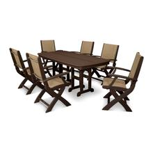 Mahogany & Burlap Coastal 7-Piece Dining Set