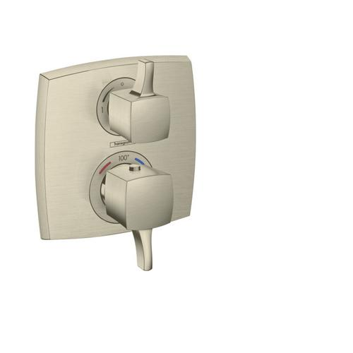 Brushed Nickel Thermostatic Trim with Volume Control, Square