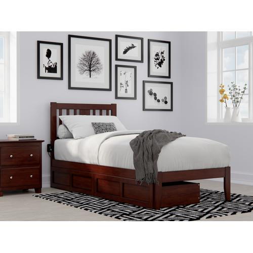 Tahoe Twin Extra Long Bed with USB Turbo Charger and 2 Extra Long Drawers in Walnut