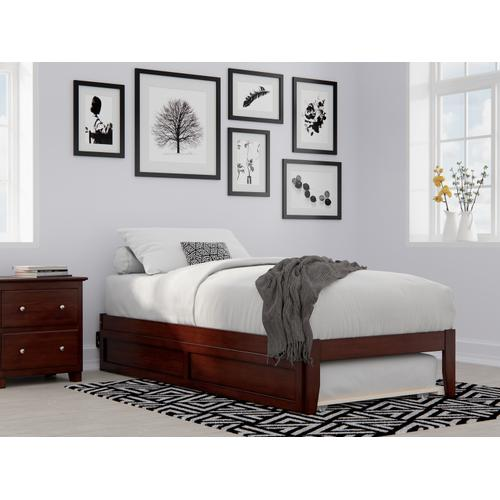 Atlantic Furniture - Colorado Twin Extra Long Bed with USB Turbo Charger and Twin Extra Long Trundle in Walnut