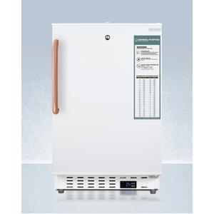 SummitBuilt-in Undercounter ADA Compliant +2(degree)c To +8(degree)c Commercially Approved All-refrigerator In White With Pure Copper Towel Bar Handle, Lock, Digital Controls, Wire Shelving, Hospital Cord With 'green Dot' Plug, Factory Installed Access Port, an