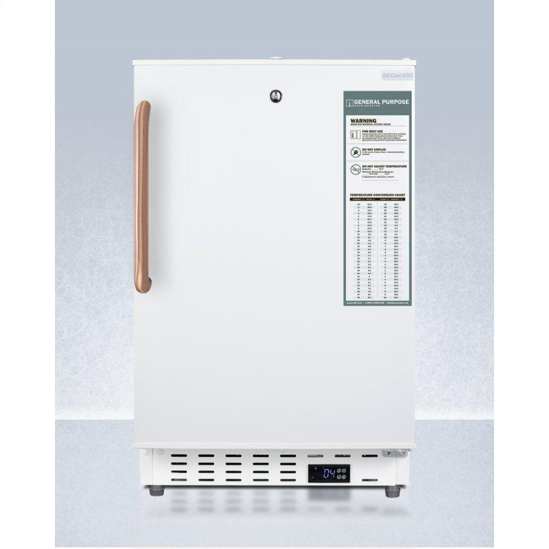 Built-in Undercounter ADA Compliant +2(degree)c To +8(degree)c Commercially Approved All-refrigerator In White With Pure Copper Towel Bar Handle, Lock, Digital Controls, Wire Shelving, Hospital Cord With 'green Dot' Plug, Factory Installed Access Port, an