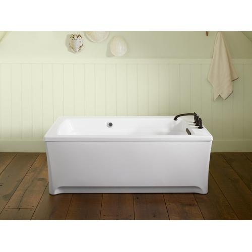 "White 62"" X 32"" Freestanding Heated Bubblemassage Air Bath With Bask Heated Surface"